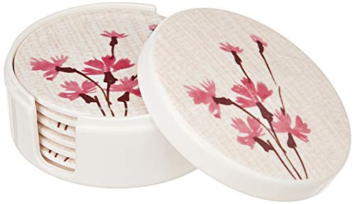 Amazon Brand – Solimo Classico Set of 6 Melamine coasters with stand (10*10 cm) Price & Reviews