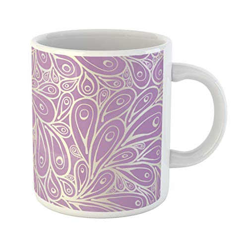 Semtomn Funny Coffee Mug Purple Fantasy Doodle Peacock Feathers Pattern Phoenix Beautiful Beauty 11 Oz Ceramic Coffee Mugs Tea Cup Best Gift Or Souvenir