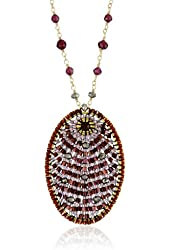 Miguel Ases Garnet and Pyrite Quartz Oval Pendant Necklace