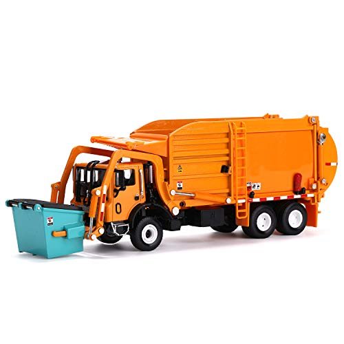 FUBARBAR Garbage Truck Toy, Model 1:43 Scale Metal Diecast Recycling Clean Trash Garbage Rubbish Waste Transport Truck Alloy Model Car Toy Garbage Cans for Kids Birthday Party Supplies(Orange)