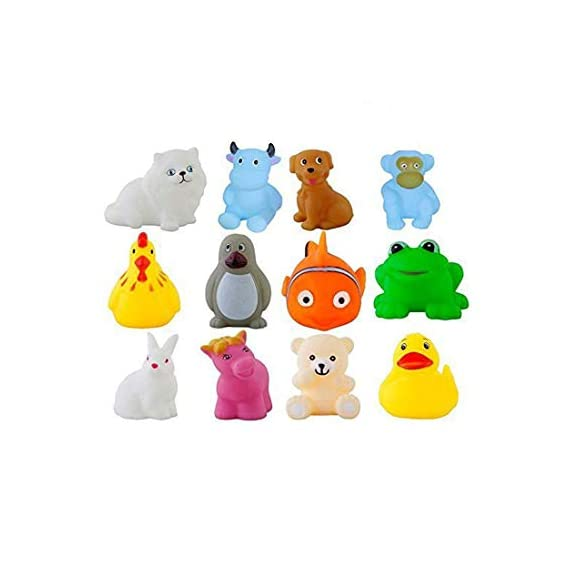 ODDEVEN Baby Colorful Animal Shape Swimming 12 Pcs Sounding Squeeze Bath Toy