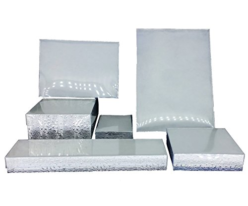 Silver Foil with Clear Top Cotton Filled Jewelry Boxes (10, 3 1/2