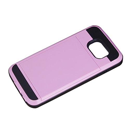 Telefon-Kasten - SODIAL(R)Karte Tasche Stossfeste Duenne Hybrid Mappe Abdeckung fuer Samsung Galaxy S6 Rosa