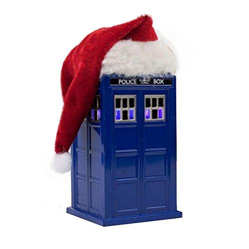 Kurt Adler 4.5-Inch Doctor Who TARDIS with LED Light and Santa (Silver Santa Hat)