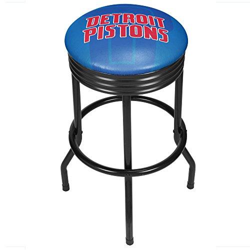 Trademark Gameroom NBA1006-DP2 NBA Black Ribbed bar Stool - Fade - Detroit Pistons