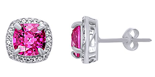 Cushion Cut Simulated Pink & White Sapphire Halo Stud Earrings In 14K White Gold Over Sterling Silver
