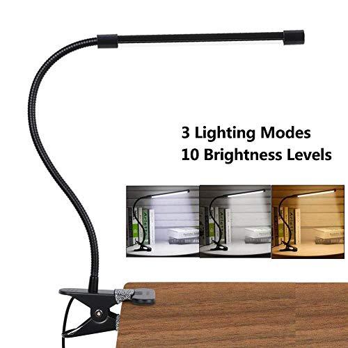 LED Lámpara De Mesa Escritorio, Luz De Lectura Con Abrazadera USB Portátil Flexible Regulable Con 3 Modos De Iluminación…