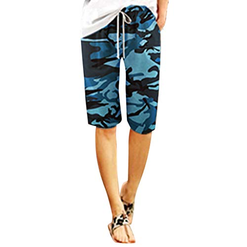(Womens Camouflage Printed Shorts Casual Summer Holiday Midi)