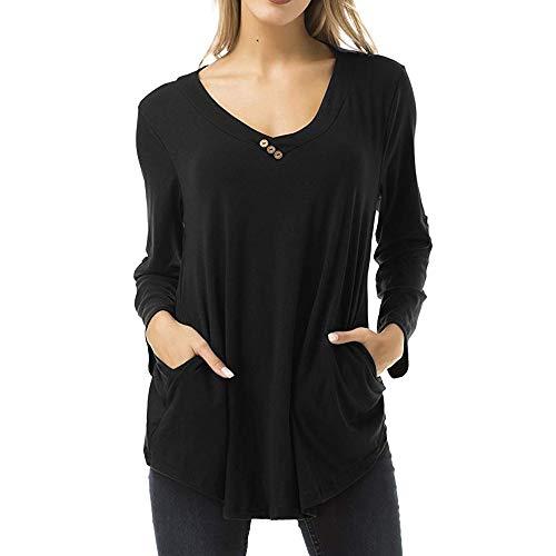 Clearance Women Tops LuluZanm Flowy Casual Sport T-Shirt Blouses Pocket Women's Long Sleeve V Neck Tops