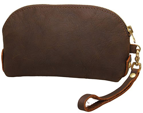 Iblue Women Leather Phone Wristlet Clutch Wallet Zipper Purse #911 (brown 2) (Wristlet Brown)