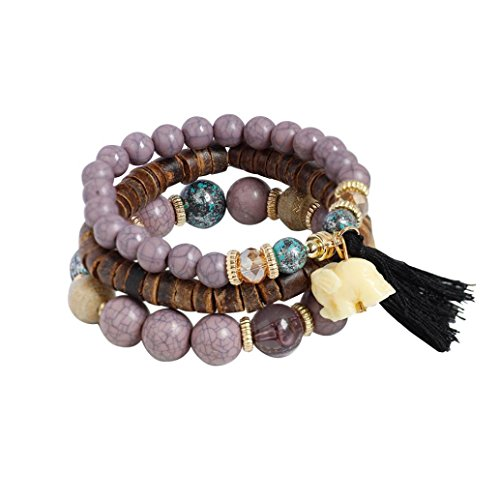 JSPOYOU Fashion Womens Multi-Layer Pearl-Colored Stretch Bracelet Bohemian Lady Bracelet Bangle (Purple)
