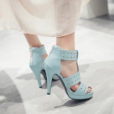 LvYuan Mujer Sandalias Semicuero PU Verano Otoño Paseo Hebilla Tacón Stiletto Blanco Negro Azul 10 - 12 cms Blue