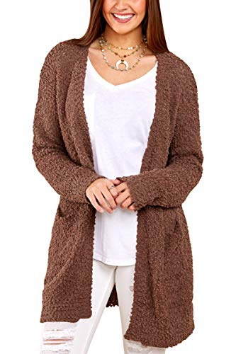 Inorin Womens Long Oversized Open Front Cardigan Sweater Fall Fuzzy Wrap Coat Sherpa Jacket with Pockets Brown