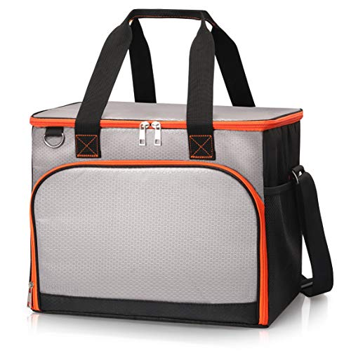 SEEHONOR Insulated Cooler Bag Leakproof Soft Sided Cooler Bag Collapsible Portable Cooler for Lunch Picnic Camping Hiking Beach BBQ Party, 40 Cans (Best Small Cooler Bag)