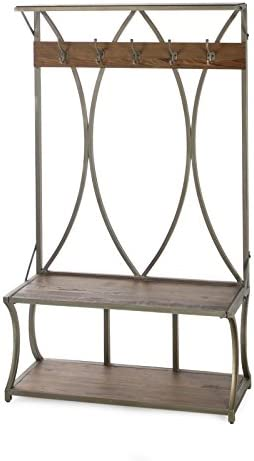 Belham Living Edison Hall Tree Metal and Wood Gray Driftwood 16W x 14D x 24H in