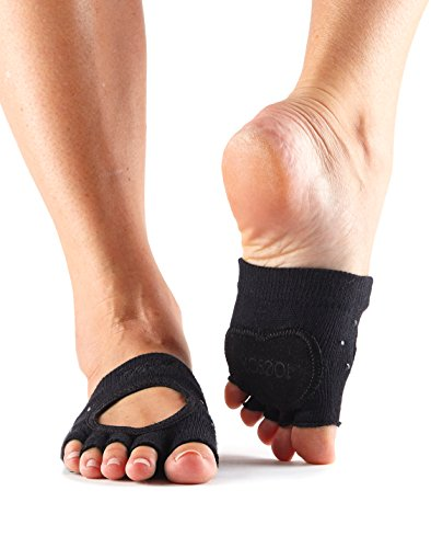 ToeSox Women's Releve Half Toe Grip for Dance, Yoga, Pilates, and Barre Toe Socks With LEATHER PAD Medium