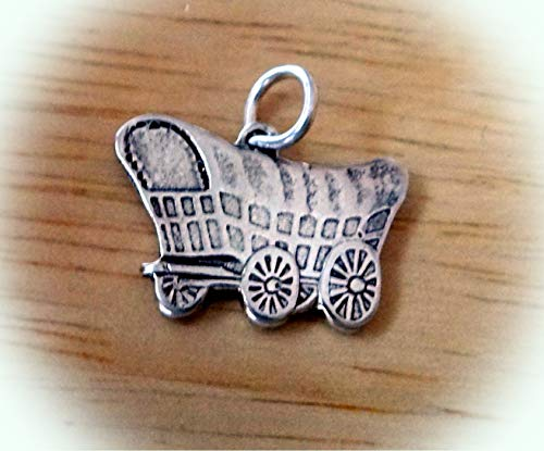 Sterling Silver 15x20mm Oklahoma Sooners Cowboy Settlers Covered Wagon Charm Vintage Crafting Pendant Jewelry Making Supplies - DIY for Necklace Bracelet Accessories by CharmingSS