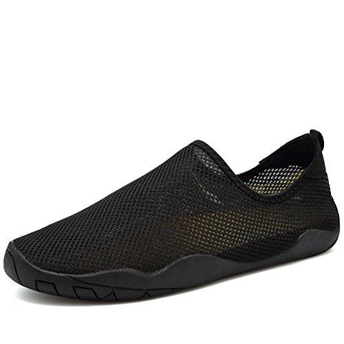 CIOR Männer Frauen Barfuß Quick-Dry Wasser Sport Aqua Schuhe mit 14 Drainage Löcher für Schwimmen, Walking, Yoga, See, Strand, Garten, Park, Fahren Wb.schwarz