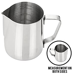 My Pitcher Measuring | Stainless Steel Milk Frothing Pitcher with Measurement Marks on Both Side Inside for Precision Pouring Espresso Machine Milk Frothers Latte Art | 752 by My Pitcher Measuring