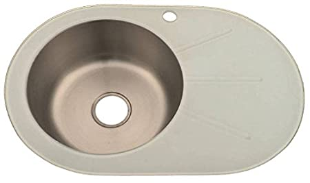 White Glass Kitchen Sink Inset Stainless Steel Bowl With Drainer ...