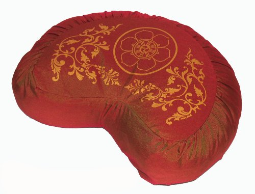 Meditation Cushion Crescent Zafu - Wheel of Dharma - Saffron