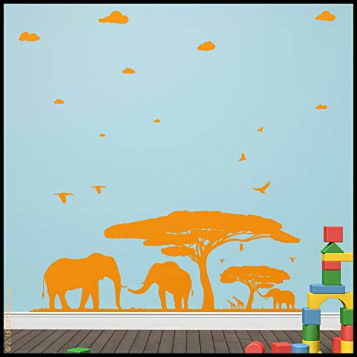 Wall Decals Sticker Elephant Wall Decal : Elephant Family in an African Scene with Tree Birds Giraffes afar and Clouds Vanishing Nursery Decal ()