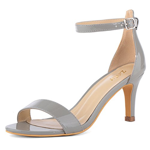 ZriEy Women's Heeled Sandals Ankle Strap High Heels 7CM Open Toe Mid Heel Sandals Bridal Party Shoes Patent Leather Grey Size 5