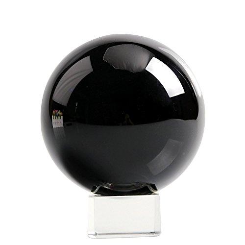 H&D Crystal Meditation Ball Globe 100 Mm,Sapphire Blue Clear, Free Stand (Black)
