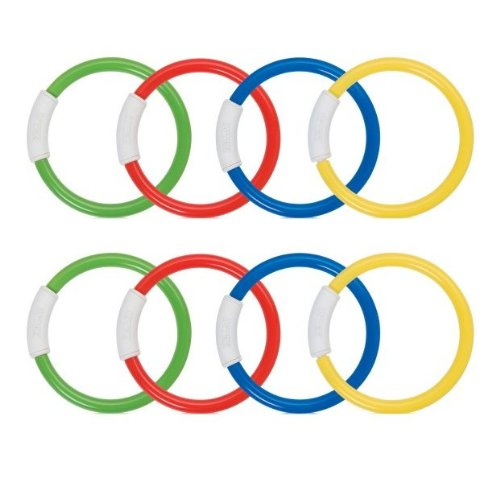 INTEX Underwater Swimming/Diving Pool Toy Rings - (8 Pack) Assorted Colors
