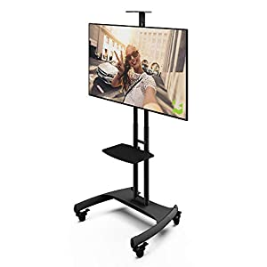 Kanto MTM65PL Height Adjustable Mobile TV Stand with Adjustable Shelf for 37-inch to 65-inch TVs | Supports up to 80 lb Total | Integrated Cable Management |