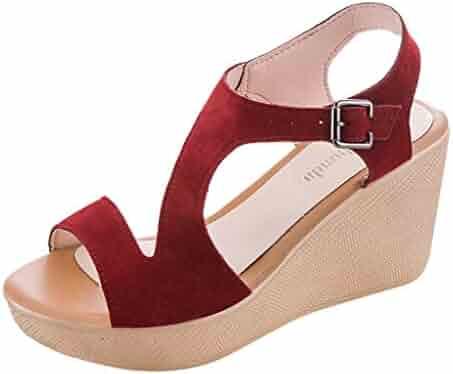 9339afeae1b8 Memela Clearance sale Women's Sandals Wedges Heel Shoes Peep Toe Belt  Buckle Blocking Hook-Loop