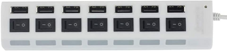 Compatible with Laptop PC USB Flash Drive Smartphone Black 7 Port High Speed USB 2.0 Hub w//Individual Power Switches On Off and LEDs