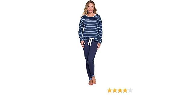 Italian Fashion IF Mujer Pijamas Astrid 0223 (Navy Azul/Blanco, S ...