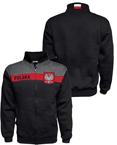 Polska Track Jacket Polish Embroidered Eagle Crest Poland Premium Chest Stripe Full Zip Up Fleece (Polish Track)