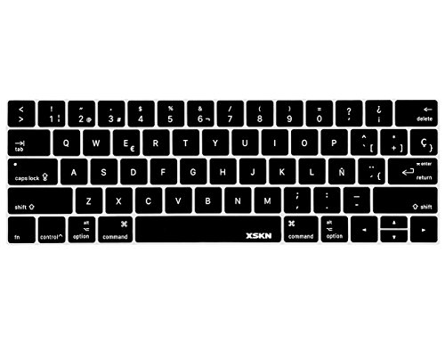 XSKN Spanish Silicone Keyboard Skin and Touchbar Protector for2016 Newest MacBook Pro 13