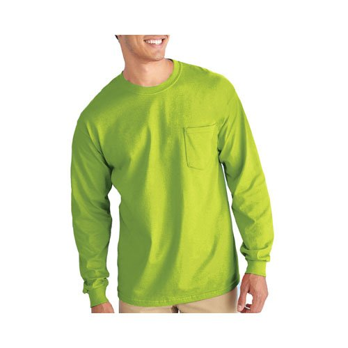 GILDAN USA G2410GRN-XXL L/S T-Shirt, XX-Large, Safety Green