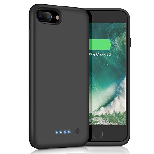 iPhone 8 Plus/7 Plus Battery Case [8500mAh], Gixvdcu Portable Protective Charging Case for Apple iPhone 8Plus & 7Plus Extended Backup Charger Ultra Slim - Black
