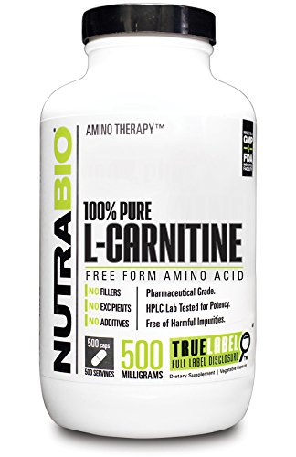 NutraBio 100% Pure L-Carnitine (500 mg) - 500 Vegetable Capsules