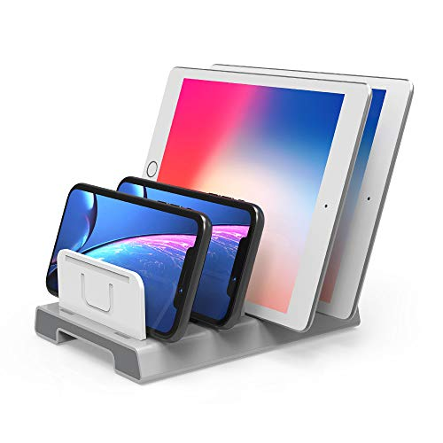 UNITEK Adjustable Universal Multi-Device Organizer Dock Stand Holder (NO Charging Port) 6-Slot Compatible iPhone, iPad, Kindle, Fire Tablet, Samsung Galaxy, Google Nexus, Pixel, All Electronic Devices (Google Nexus 6 Dock)
