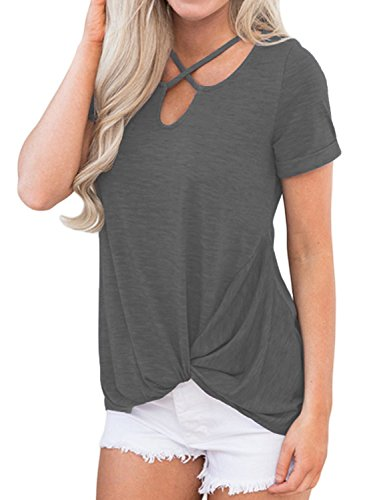 Queensheero Women's Casual V Neck Cross Front Tee Loose Short Sleeve Blouse Top Shirts L Gray