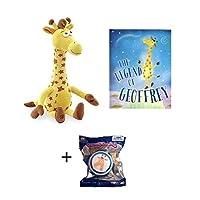 """Geoffrey the Giraffe Toys R Us EXCLUSIVE Bundle of 18"""" Giraffe Plush, Legend of Geoffrey Book, & Birthday Club Squish Dee Lish"""