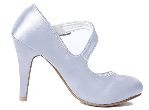 Plateado Fiesta Ageemi Stiletto Zapatos Mujer Shoes Tacón Hebillas Raso Boda 66zOHa
