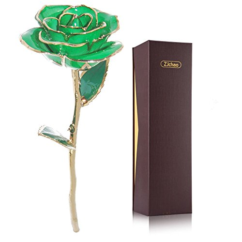 ZJchao Love Forever Long Stem 24k Gold Foil Trim Red Rose Flower, Best Gift for Valentine's Day, Mother's Day, Anniversary, Birthday Gifts for Her (Green)
