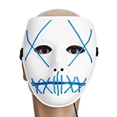 Description: 3 different flashing light patterns Creates an insane luminous glow Scary and creative design highlight the mysterious and festive atmosphere. Wired neon glowing Electroluminescent (EL wire) is woven into the mask Clip the power ...