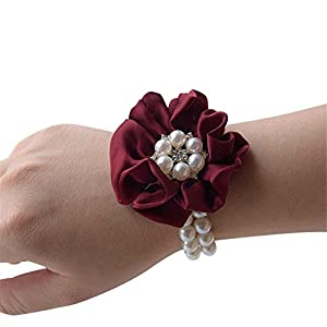 Flonding Wedding Bridal Wrist Corsage Bride Wrist Flower Corsages Pearl Stretch Bracelet Wristband for Girl Bridesmaid Prom Homecoming Hand Flowers Decor 25