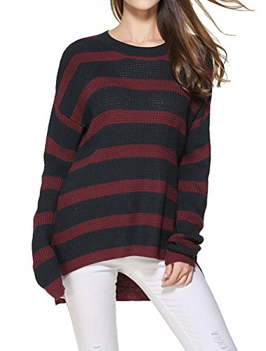 Vogstyle Mujeres Suéter de Punto de Manga Larga Suéter Suelto Jumper Knit Tops Rayas negras rojas