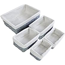 Storage Baskets - 5 Piece Set of Light Gray Wicker Decorative Organizing Baskets - Perfect for Shelf Storage