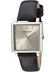Kenneth Cole New York Womens Classic Quartz Stainless Steel and Leather Dress Watch, Color:Black (Model: 10030821)