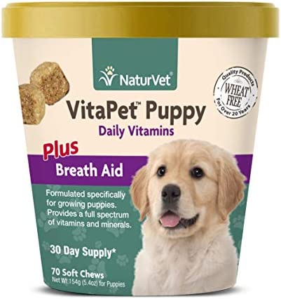 NaturVet VitaPet Puppy Daily Vitamins for Dogs Plus Breath Aid Specifically Formulated to Provide Puppies with Essential Vitamins, Minerals, Amino Acids Fatty Acids