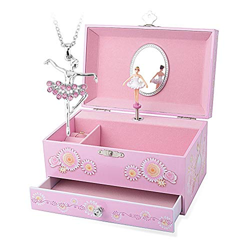 Round Rich Music Jewelry Box and Ballerina Dance Necklaces with Melody is Swan Lake Pink
